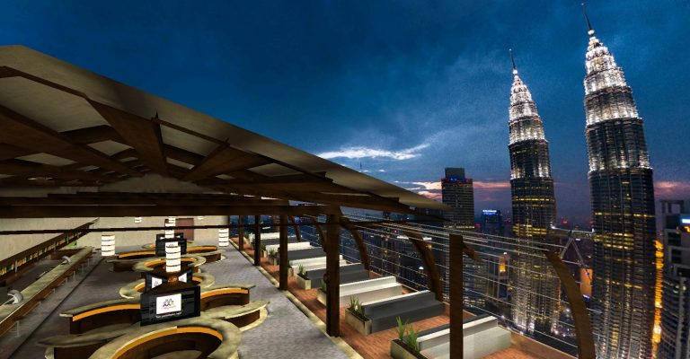 Networking Lounge with Customizes City Backdrop